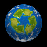 Global change. And Earth climate symbol represented by a planet with a continent in the shape of a recycle symbol showing the ecological green environmentaly Stock Photography