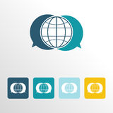 Global chat icon with clean background Royalty Free Stock Photo