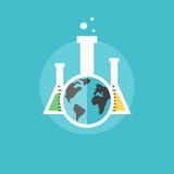 Global chemistry experiments flat icon illustration Royalty Free Stock Photo