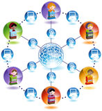 Global Children Network - Video Games. Children play video games with each other online from around the 3D globe Stock Images