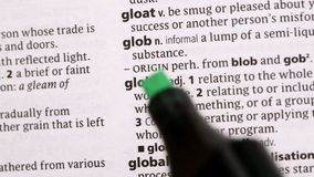 Global circled in green highlighter Stock Image