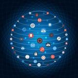 Global cirkel för begreppsinternetnätverkande med den plana symbolsillustrationen Idérik symbolssamling för social nätverkande Arkivfoton