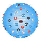 Global cirkel för begreppsinternetnätverkande med den plana symbolsillustrationen Idérik symbolssamling för social nätverkande Royaltyfri Bild