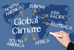 Global Climate - The blue Planet. Female hand with chalk writing text on blue world map background stock illustration