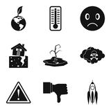 Global climate warming icons set, simple style. Global climate warming icons set. Simple set of 9 global climate warming vector icons for web isolated on white Stock Photography