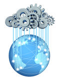 Global cloud computing network. Global cloud network computing network symbol with a cloud and rain in the form of gears and cogs representing the expansion of Royalty Free Stock Image