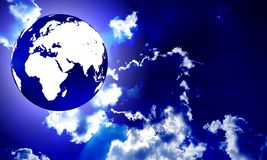 Globe with clouds with lighting effects. background, wallpaper.. stock illustration