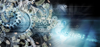 Global Cogs Money Business Trade Background. A montage of business icons with cogs money, credit card and computer circuits background Stock Photos