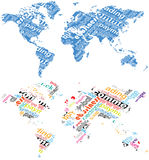 Global commerce. World map with text pattern Stock Photography