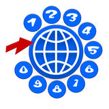 Global Communication. Icon with Telephone Disc with Nimbers, Globe Symbol and Red Arrow over White Background Stock Images