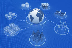 Global communication. Cyberspace 3d render Stock Images