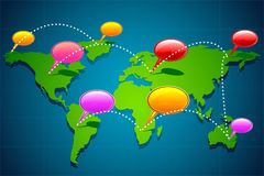 Global Communication. Illustration of chat bubble on world map showing global communication Stock Images