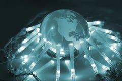 Global communication. Concept blue background Stock Photos