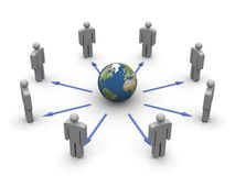 Global communication. Render of figurines in a circle connected by arrows to an Earth globe Stock Photography