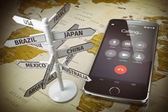 Global communication, calls abroad, roaming concept. Mobile phon Stock Image