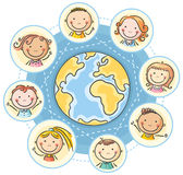 Global communication. With cartoon kids Royalty Free Stock Images