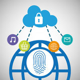 Global communication cloud security social network Royalty Free Stock Images
