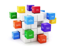 Global communication concept. 3d render of domain boxes  on white background. Global communication concept Stock Images