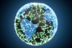 Global communication concept with Earth, 3D rendering. Global communication concept with  Earth, 3D Royalty Free Stock Images