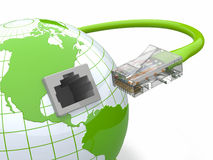 Global communication. Earth and cable, rj45. 3d Stock Photos