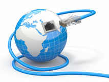 Global communication. Earth and cable, rj45. 3d Royalty Free Stock Photography