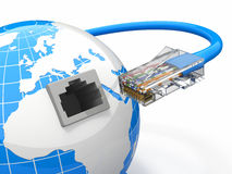 Global communication. Earth and cable, rj45. Royalty Free Stock Images