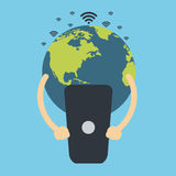 Global communication. Earth globe holding cell phone. Global communication. Flat vector design Stock Photo