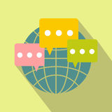 Global communication flat icon Stock Images