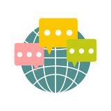 Global communication flat icon Stock Photos