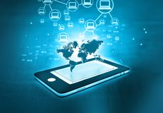 Global communication network. Of Smart phone Royalty Free Stock Photography