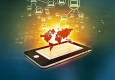 Global communication network. Of Smart phone Stock Images