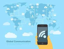 Global communication. Picture of human hand with mobile phone linked to the points around the world, global communication concept, flat style illustration Royalty Free Stock Photo
