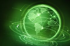 Global communication of the planet Earth. Data exchange via the Internet vector illustration