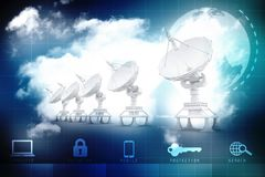 Global communication with Satellite and Server. 3d render royalty free stock photo