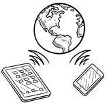 Global communication sketch. Doodle style global cloud computing illustration showing data being sent and received globally on smartphones, tablets, and mobile Stock Image