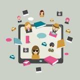 Global communication. Social media illustration. Flat concept. Royalty Free Stock Photography