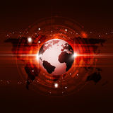 Global Communication Technology Red Background Stock Photos
