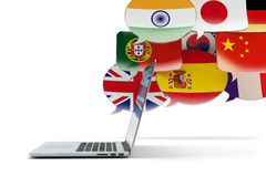 Global communication technology, translation and online messaging concept Royalty Free Stock Images