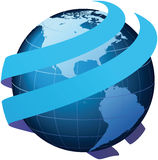 Global communication - Vector. Globe with two encircling 3D arrows Royalty Free Stock Photos
