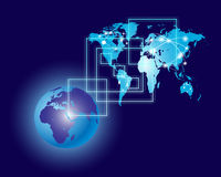 Global Communication and World Map Royalty Free Stock Photos
