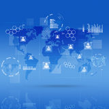 Global Communicationl Interface Blue Background Royalty Free Stock Photography
