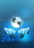Global Communications. A world globe and a pair of hands in a technology background Royalty Free Stock Images