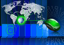 Global communications. Blue background with map globe, mouse and binary code, global connection Stock Image