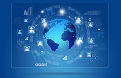 Global Communications Concept Blue Background Stock Photo
