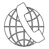 Global communications icon, outline style Stock Photo
