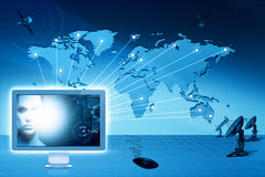 Global communications and internet. Abstract technology backgrounds stock illustration