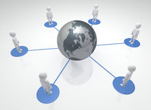 Global Community. Linked team of individuals Worldwide 3D rendered Royalty Free Stock Photo