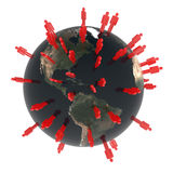 Global Community. Concept made from earth globe and peoples around the world. Americas Royalty Free Stock Photography