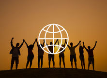 Global Community International Worldwide World Connected. People holding hands together with global symbol vector illustration