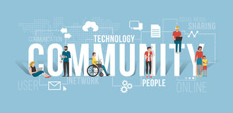 Global community. People connecting using smartphones and laptops, they are different but they are communicating together and sharing contents in the same Royalty Free Stock Photo